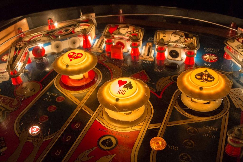 close up view of pinball machine