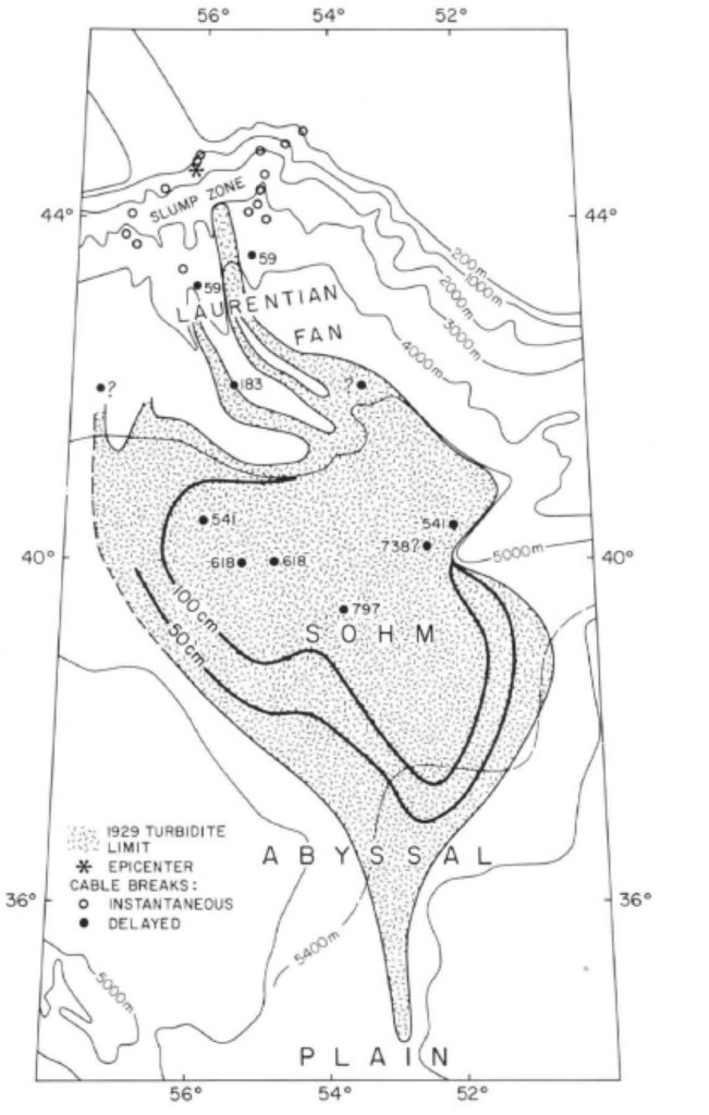A bathymetric map of the seafloor offshore eastern Canada. A large gray area shows the extent of a key sedimentary deposit. The locations of transmission cable breaks are also shown.