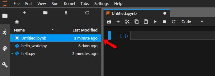 new .ipynb file