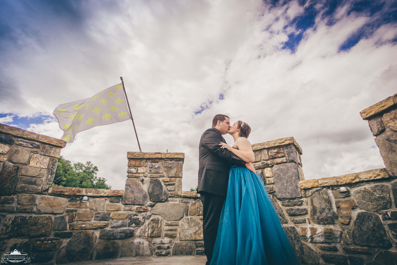 stock photo love reigns a kiss a castle smokey mountains 159119423