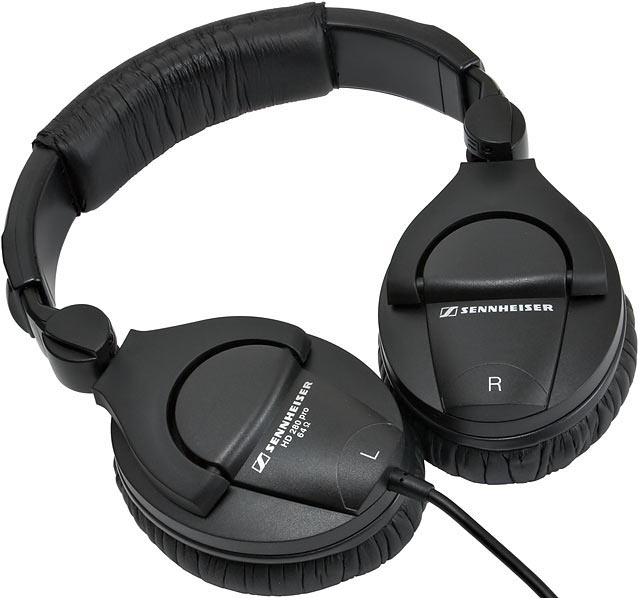 The band that goes over head is plastic. Here you see how the ear cups of the Sennheiser HD 280 PRO Headphones can swivel.