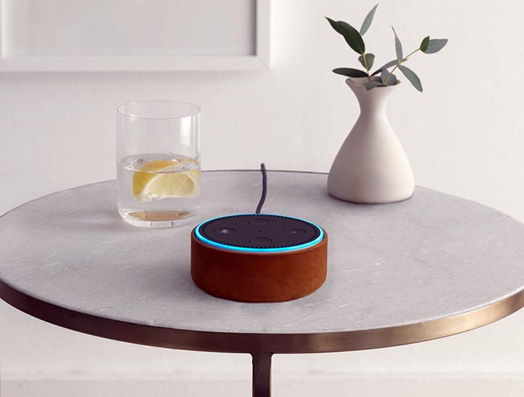 The Echo Dot costs a third of the price of the Amazon Echo, but you can use it as a standalone. It is basically the smart speaker without the speaker! You can connect it to a speaker with a cord or with Bluetooth