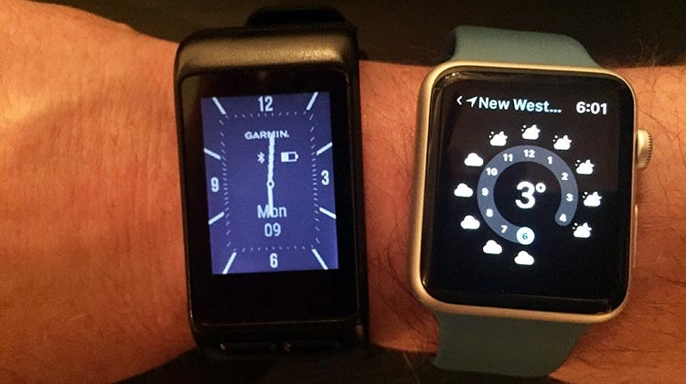This photo shows the Garmin Vivoactive HR next to the 42 mm Apple watch (which is the larger of the Apple watch's two sizes). This is to give you an idea of the size of the Garmin Vivoactive smart watch