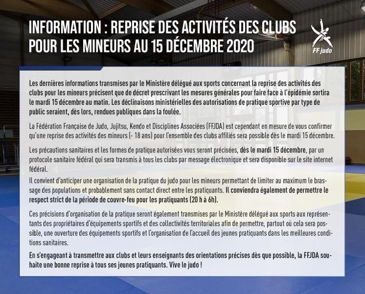 protocole sanitaire de reprise judo marseille du 15 décembre 2020