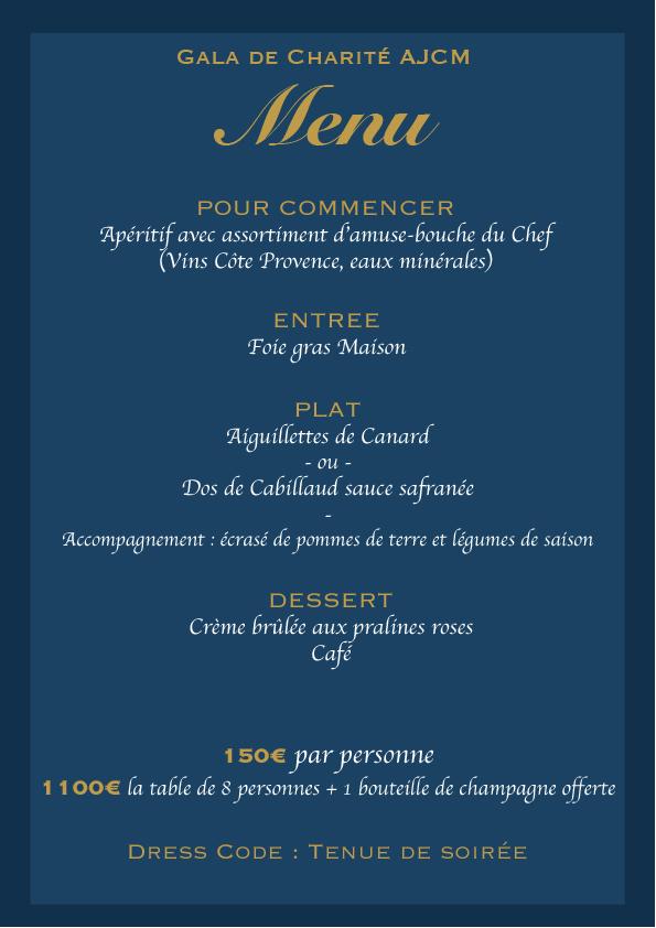 menu gala