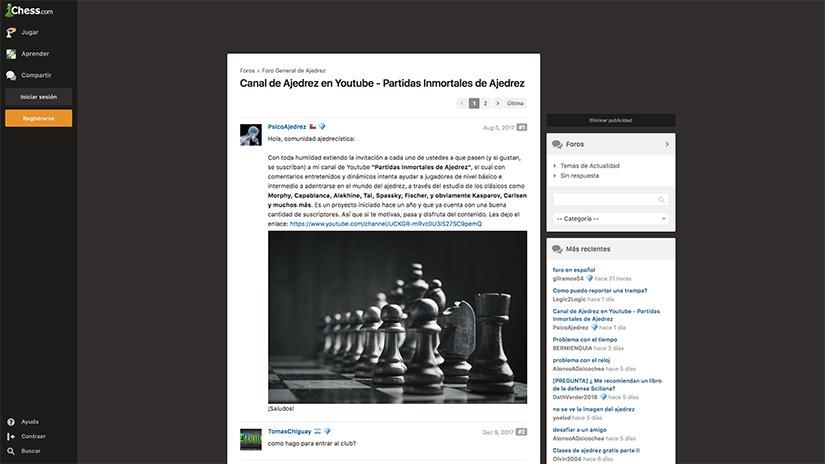 Canal de ajedrez en Youtube - Partidas Inmortales