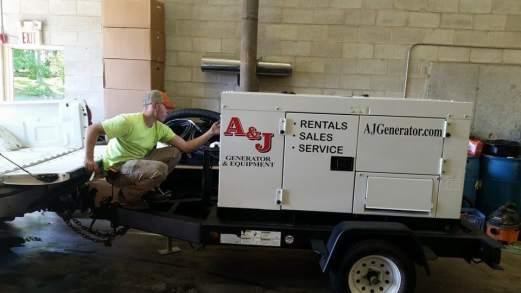 Generator Technician Fixes Rental Generator