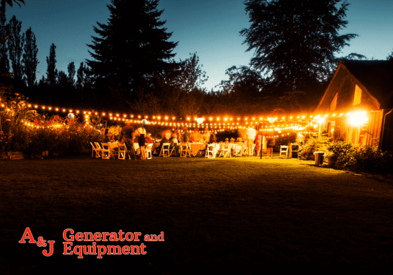 outdoor wedding powered by generator