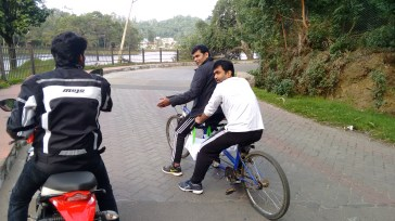 CK and Amulraj - guys from the group - enquiring about the bike