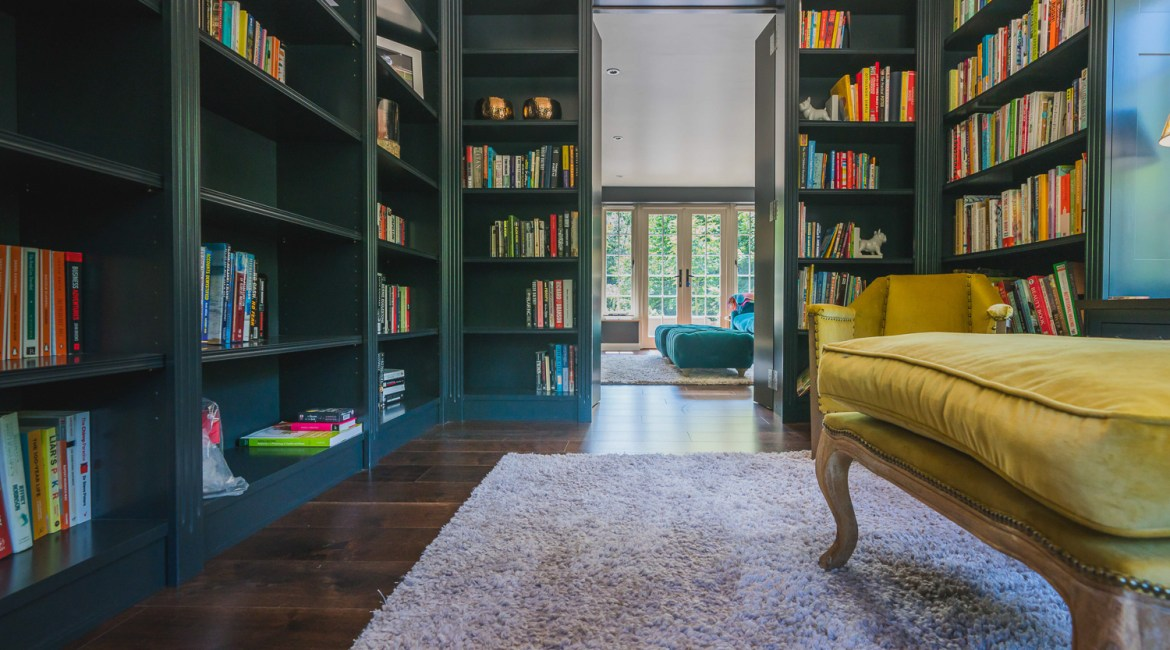 AJ Hammond Builders transformed this classic home design with a modern extension and library in Heathfield, East Sussex