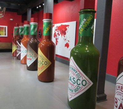 Over-sized hot sauce bottles