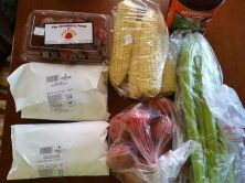 Meat, produce, and coffee we bought