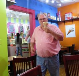 """This is the 2 """"1/2 scoops"""" waffle cone Jim got."""