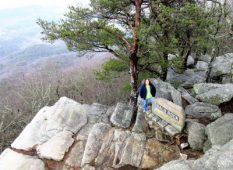 Angela on outer rocks at Bald Rock