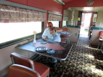 Jim trying out the dining car
