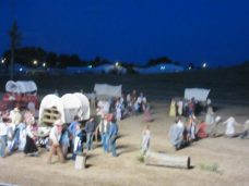 Settlers wagon train circled for night