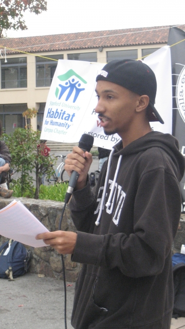 "This is me speaking at a rally protesting the appointment of Donald Rumsfeld as a ""distinguished visiting fellow"" to the Hoover Institution in November in 2008."