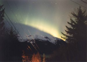 Aurora from Haines Alaska, 1974, Photo by Allan J Jones