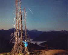 Self Portrait with Perseid, Deer Park Campground, Olympic National Park, August 1990, Photo by Allan J Jones