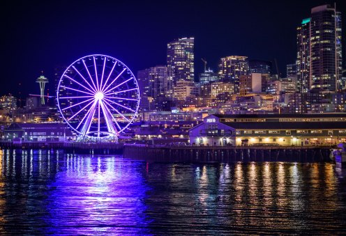 Seattle Waterfront from ferry to Bainbridge Island, 10Feb2018, Photo by Allan J Jones