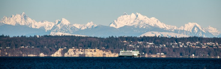 Cascade Mountains and the ferry Kennewick by Allan J Jones Photograhpy
