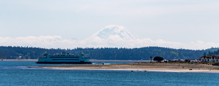 Mt Rainier and the Ferry Kennewick by Allan J Jones Photography