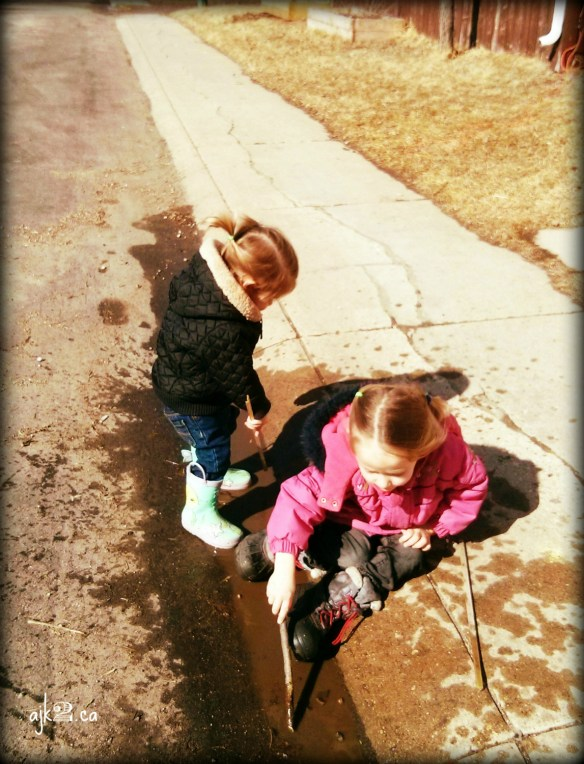 Playing outside during the unusually warm Easter break!