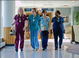 Nurses leaving for lunch break at Massachusetts General Hospital, Boston.