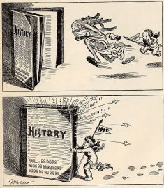 Cartoon showing baby representing New Year 1905 chasing old man 1904 into history/ Wikipedia
