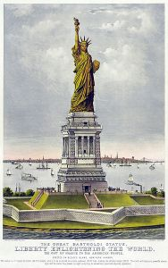 The great Bartholdi statue, liberty enlightening the world: the gift of France to the American people.  Speculative depiction published the year before the statue was erected. In this depiction the statue faces south; it actually faces east/Wikimedia Commons