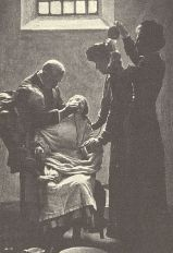 Not a new practice: A suffragette on hunger strike being forcibly fed with a nasal tube, circa 1911. Via Wikimedia Commons.