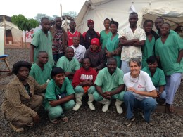 With staff at the 120-bed Ebola clinic in Foya