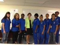 The author with nursing students at the Rhode Island Nurses Institute Middle College, the first charter school in the country for high school students who want to major in nursing.