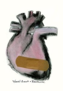 Heart Break = Heartache  graphite, charcoal, water color, adhesive strip by julianna paradisi