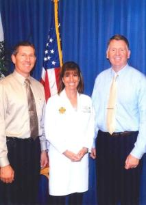 Jeannine Loucks, MSN, RN-BC, PMH, with Captain Dan Cahill (left) and Chief Robert H. Gustafson at the Orange County Police Department in Orange California. Photo courtesy of the Orange Police Department.