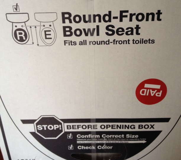 toilet seat box showing elongated toilet seat