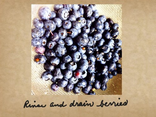 Photo of rinsing and draining blueberries