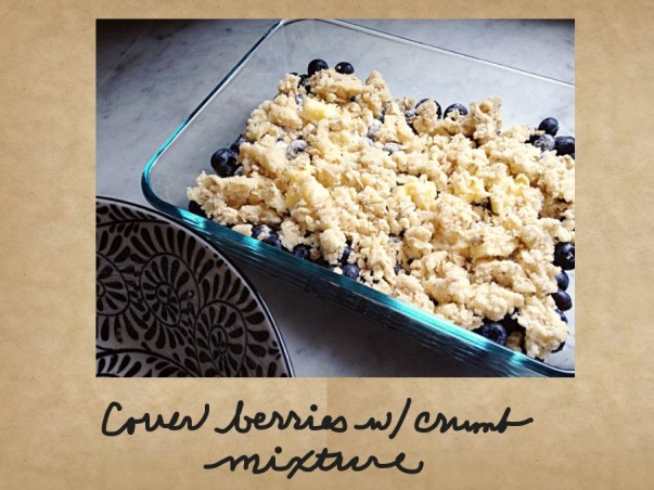 Photo of berries covered with crumble mixture