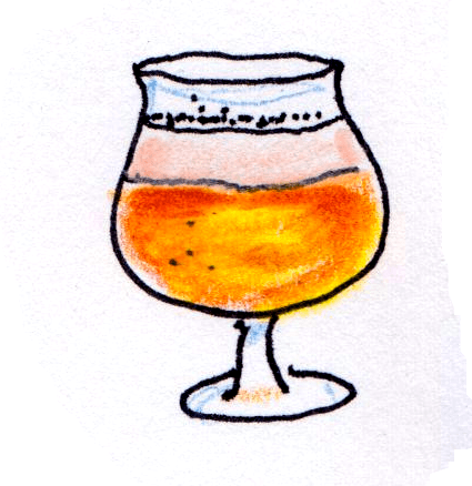 drawing of tulip shaped goblet for flavorful special brews