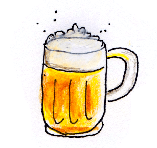 drawing of the classic beer mug with golden ale and foam head