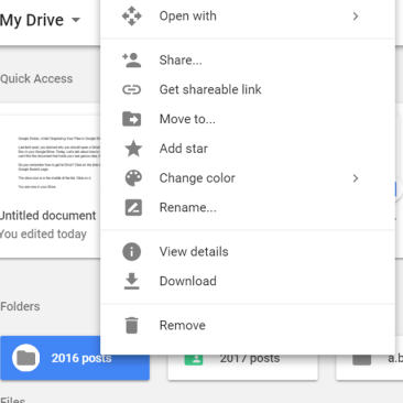Google Drive folder options