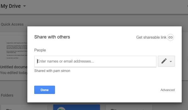 screenshot of folder sharing options