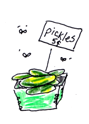Drawing of pickles in a container