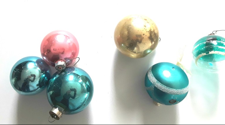 Turquoise, pink, gold Christmas glass ornaments, vintage