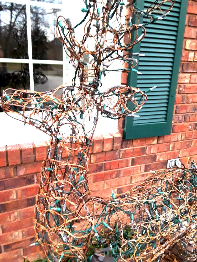 grapevine deer covered with fairy lights