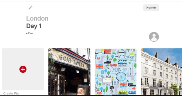 Pinterest London Board divided into sections by Day
