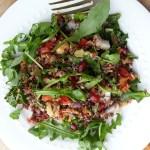 Quinoa, kale, arugula, seeds, nuts, veggies make a great superfood salad