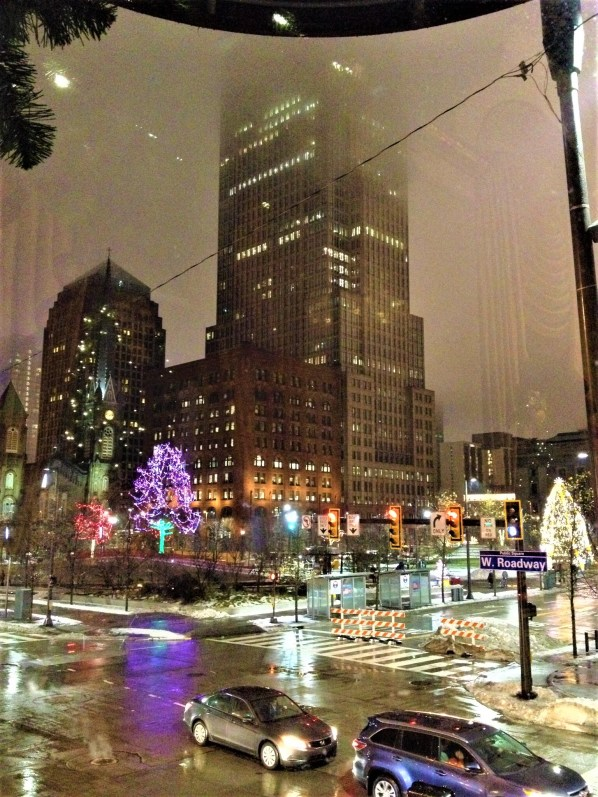 Winter is pleasant if you are looking out at the holiday lights from the windows of Cleveland's Renaissance Hotel