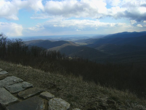 Overlook on Blue Ridge Parkway yields views of mountains and valleys.