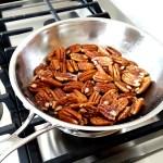 saute pecans in fry pan until light golden brown